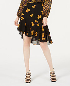 Bar III Ruffled Asymmetrical Skirt, Created for Macy's