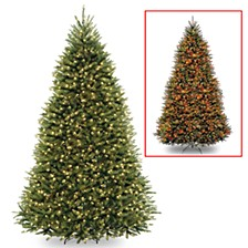 National Tree 10' Dunhill Fir Hinged Tree with 1200 Low Voltage Dual LED Lights with 9 Function Footswitch