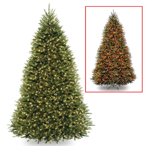 National Tree Company National Tree 10' Dunhill Fir Hinged Tree with 1200 Low Voltage Dual LED Lights with 9 Function Footswitch