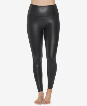 SPANX Pebbled Faux-Leather Leggings in Pebble Grey