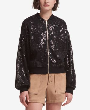 DKNY Sequined Bomber Jacket With Balloon Sleeve in Black