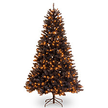 National Tree 6 .5' North Valley Black Spruce Hinged Tree with 450 Orange Lights