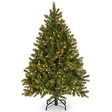 "National Tree 4 .5' ""Feel Real"" Downswept Douglas Fir Hinged Tree with 450 Clear Lights"