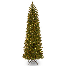 "National Tree 6 .5"" Feel Real Downswept Douglas Fir Pencil Slim Tree with 300 Clear Lights"