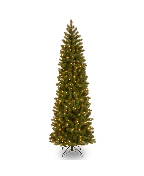 "National Tree Company National Tree 6 .5"" Feel Real Downswept Douglas Fir Pencil Slim Tree with 300 Clear Lights"