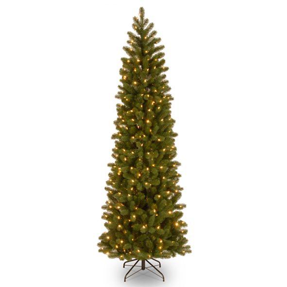 "National Tree Company National Tree 6 .5"" Feel Real Downswept Douglas Fir Pencil Slim Tree with 300 Clear Lights"