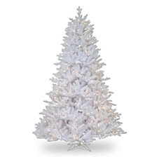 National Tree 7 .5' Feel Real Madison White Fir Hinged Tree with 750 Clear Lights