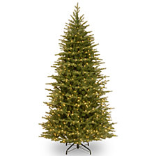 """National Tree 7 .5' """"Feel Real"""" Nordic Spruce Slim Hinged Tree with 750 Clear Lights"""