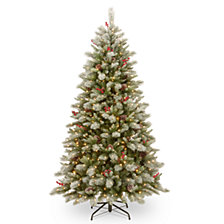 National Tree 7 .5' Feel Real Snowy Bristle Berry Hinged Tree with Berries, Cones 700 Clear Lights and PowerConnect