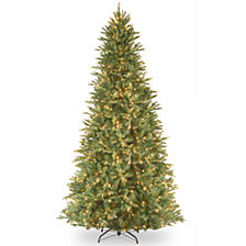 "National Tree 9' ""Feel Real"" Tiffany Fir Slim Hinged Tree with 800 Clear Lights"