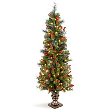 5' Crestwood Spruce Entrance Tree with Silver Bristle, Cones, Red Berries and Glitter in a Plastic Bronze Pot with 150 Clear Lights