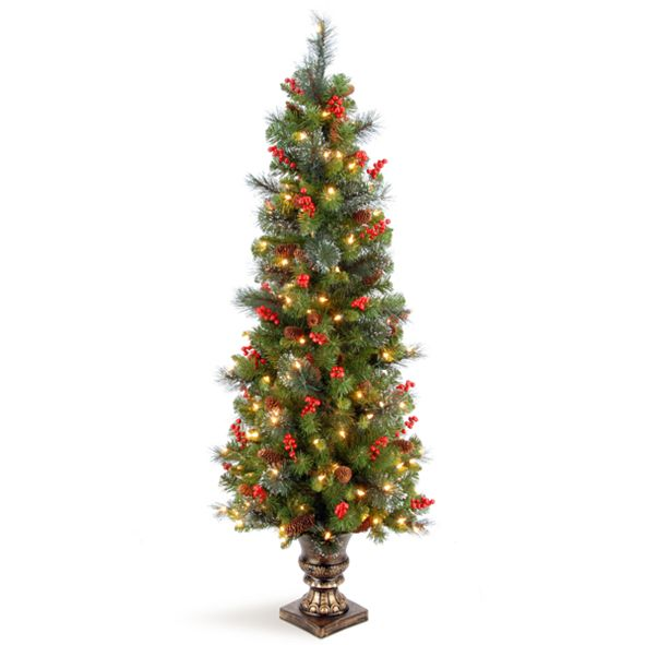 National Tree Company 5' Crestwood Spruce Entrance Tree with Silver Bristle, Cones, Red Berries and Glitter in a Plastic Bronze Pot with 150 Clear Lights