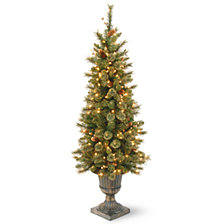 National Tree 4' Glittery Gold Pine Entrance Tree with Berries, Cones and 100 Clear Lights in a Dark Bronze Pot