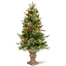 """National Tree 4' """"Feel Real"""" Colonial Entrance Tree with Berries and Cones in Dark Bronze Plastic Pot with 100 Clear Lights"""