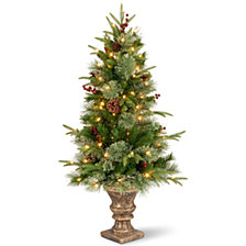 "National Tree 4' ""Feel Real"" Colonial Entrance Tree with Berries and Cones in Dark Bronze Plastic Pot with 100 Clear Lights"