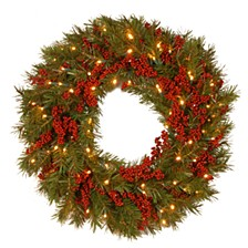 "National Tree 24"" Decorative Collection Valley Pine Wreath with Red Berries and 50 Soft White Battery Operated LEDs with Timer"