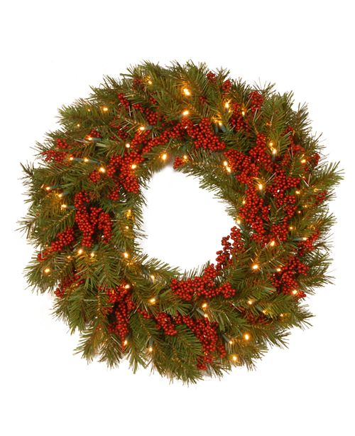 "National Tree Company National Tree 24"" Decorative Collection Valley Pine Wreath with Red Berries and 50 Soft White Battery Operated LEDs with Timer"