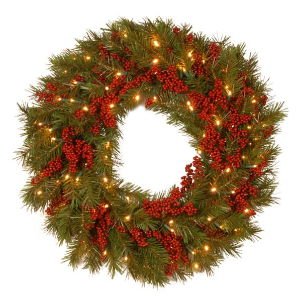 """National Tree Company National Tree 24"""" Decorative Collection Valley Pine Wreath with Red Berries and 50 Soft White Battery Operated LEDs with Timer"""