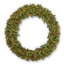 "National Tree Company 60"" Garwood Spruce Wreath with Pine Cones & 450 Warm White Concave lights"