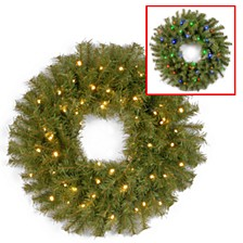"""24"""" Norwood Fir Wreath with 50 Battery Operated Dual LED Lights"""