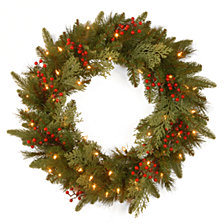 "National Tree Company 24"" Feel Real(R) Classical Collection Wreath with 8 Red Berries, 8 Cedar Leaves & 50 Battery Operated Warm White LED Lights w/Timer"