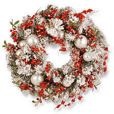 "National Tree Company 24"" Christmas Wreath with Red and White Ornaments"