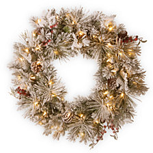 """National Tree Company 30"""" Snowy Bedford Pine Wreath with Cedar Leaves, Red Berries, Mixed Cones & 70 Warm White Battery Operated LED Lights w/Timer"""