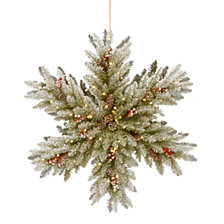 "National Tree Company 32"" Snowy Dunhill Fir Double Sided Snowflake with Cones, Red Berries & 100 Warm White Battery Operated LED Lights w/Timer"