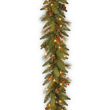 "National Tree Company 6' x 12"" Decorative Collection Garland with 20 Cones, 5 Red Berries and 35 Clear Lights"