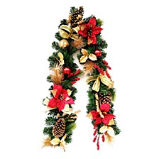 "72"" Decorative Garland with Ornaments, Berries, Cones Red Ribbon, Poinsettias & 20 LED Lights"