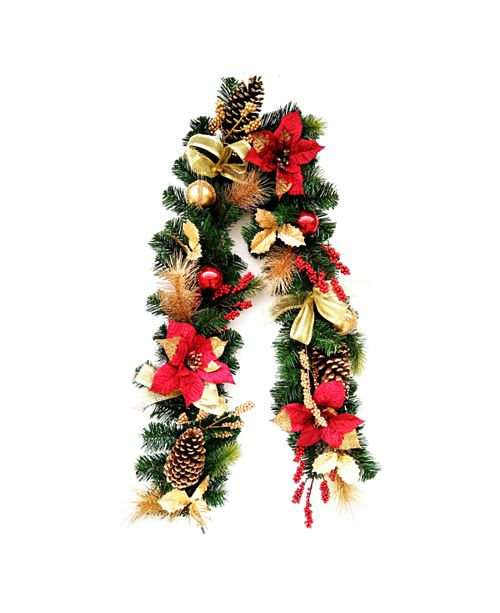 9 Decorative Garland with Ornaments, Berries, Cones Red Ribbon,  Poinsettias & 9 LED Lights