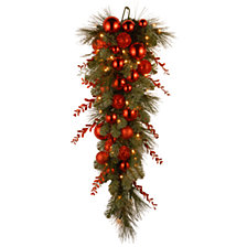 "National Tree 36"" Decorative Collection Christmas Red Mixed Teardrop with 30 Warm White Battery Operated LEDs with Timer"