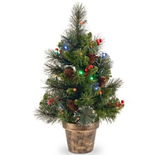 2' Crestwood Spruce Small Tree with Silver Bristle, Cones, Red Berries and Glitter in a Plastic Bronze Pot with 35 Battery Operated Multi LED Lights