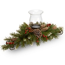 """30"""" Frosted Berry Centerpiece with 1 Candle Holder & Glass Hurricane"""
