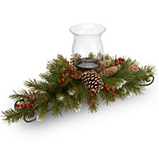 "National Tree Company 30"" Frosted Berry Centerpiece with 1 Candle Holder & Glass Hurricane"