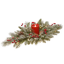 "National Tree Company 32"" Feel Real®  Snowy Bristle centerpiece with one electronic candle, battery operated LED lights, berries and cones"