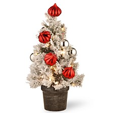 "2' Snowy Bristle Pine Tabletop Trees with Red & Silver Ornaments in a 6"" Black/Silver Urn & 35 Warm White Battery Operated LED Lights w/Timer"