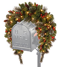 "National Tree 36"" CrestwoodR Spruce Mailbox Swag with Battery Operated Warm White LED Lights"