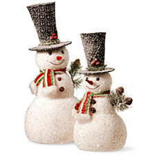 "National Tree 14"" and 18"" Snowman Set"