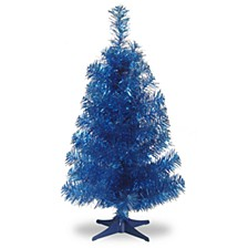 National Tree 3 ft. Blue Tinsel Tree