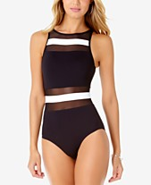e3dc11022b83 Anne Cole Colorblocked Sheer-Inset One-Piece Swimsuit
