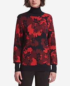 DKNY Printed Turtleneck Sweater, Created for Macy's