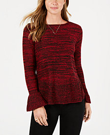 Style & Co Petite Marled Ruffled Sweater, Created for Macy's