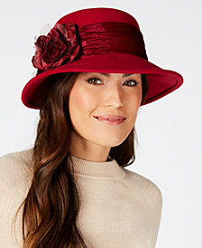 August Hats Velvet-Flower Felt Wide-Brim Hat
