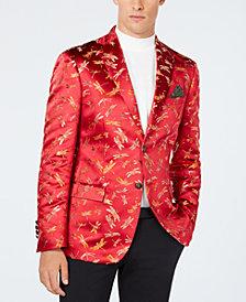 Tallia Men's Slim-Fit Red Dragonfly Jacquard Dinner Jacket