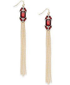 Thalia Sodi Gold-Tone Stone Cluster Tassel Drop Earrings, Created for Macy's