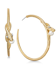 "Thalia Sodi Extra Large Gold-Tone Crystal & Imitation Pearl Hoop Earrings, 2.5"", Created for Macy's"