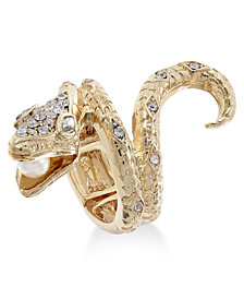 Thalia Sodi Gold-Tone Crystal & Imitation Pearl Snake Ring, Created for Macy's