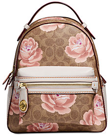 COACH Coated Canvas Signature Rose-Print Campus Backpack 23