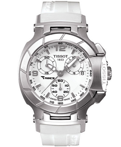 Tissot watch women 39 s swiss chrongraph t race white rubber strap t0482171701700 watches for Celebrity tissot watches